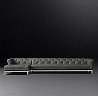Italia Chesterfield Leather Sofa Chaise Sectional