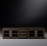 Machinto Glass 4 Door Media Console With Drawers