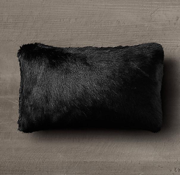 Ultra Faux Fur Lumbar Pillow Cover Black