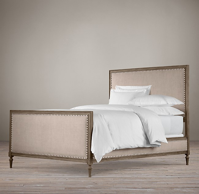 wood and upholstery bed.  Maison Upholstered Panel Bed With Footboard