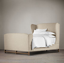 French Wing Fabric Bed With Footboard
