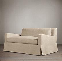 5' Belgian Slope Arm Slipcovered Sofa