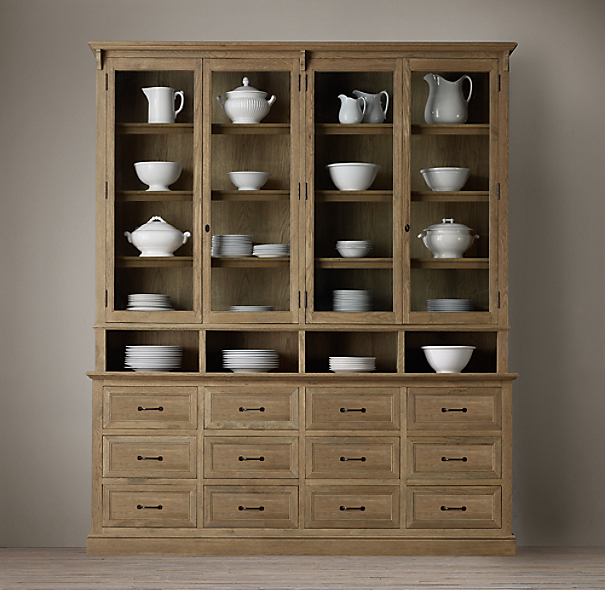 Apothecary double door sideboard glass hutch - Restoration hardware cabinets ...