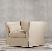 Belgian Shelter Arm Slipcovered Swivel Chair