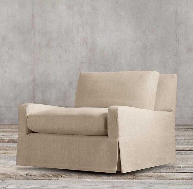 belgian slope arm slipcovered chair
