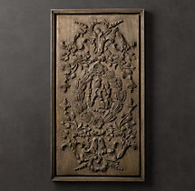 Hand-Carved Rococo Wood Panel Natural