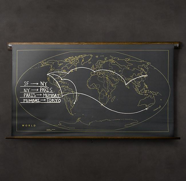 Military Chalkboard World Map