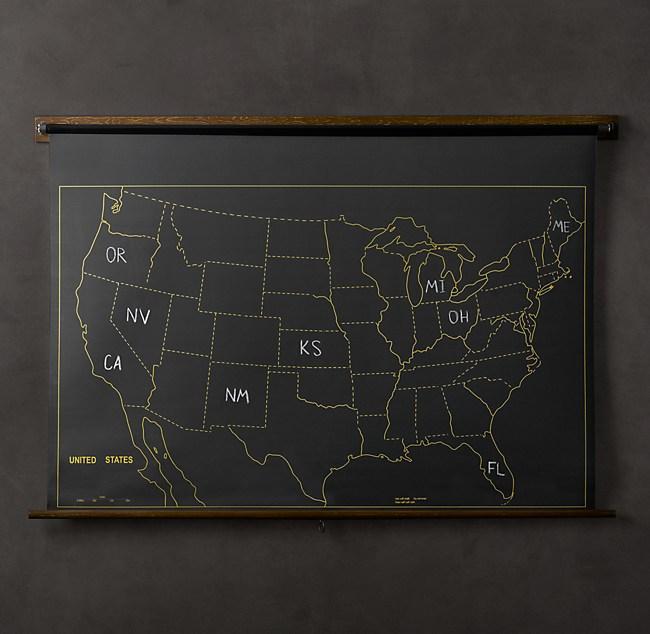 Military Chalkboard US Map