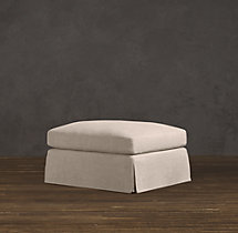 Belgian Shelter Arm Slipcovered Ottoman