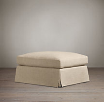 Belgian Slope Arm Slipcovered Ottoman