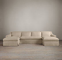 Preconfigured Belgian Roll Arm Slipcovered U-Chaise Sectional