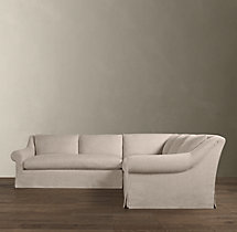 Preconfigured Belgian Roll Arm Slipcovered Corner Sectional