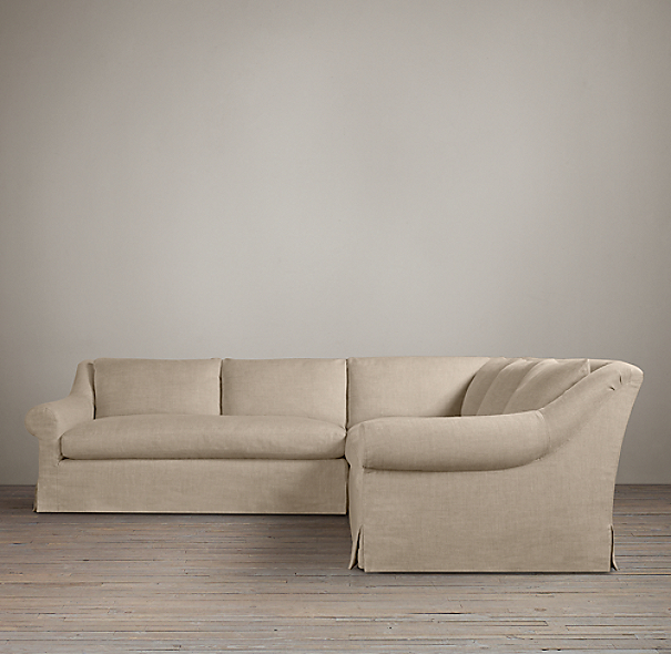 Belgian Roll Arm Slipcovered Customizable Sectional