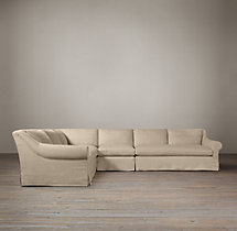 Preconfigured Belgian Roll Arm Slipcovered L-Sectional