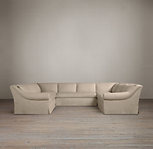 Preconfigured Belgian Roll Arm Slipcovered U-Sofa Sectional