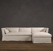 Preconfigured Belgian Shelter Arm Slipcovered Right-Arm Chaise Sectional