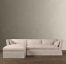 Preconfigured Belgian Shelter Arm Slipcovered Left-Arm Chaise Sectional