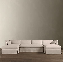 Preconfigured Belgian Shelter Arm Slipcovered U-Chaise Sectional
