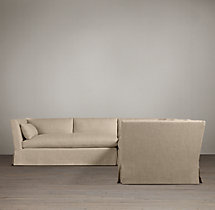 Preconfigured Belgian Shelter Arm Slipcovered Corner Sectional