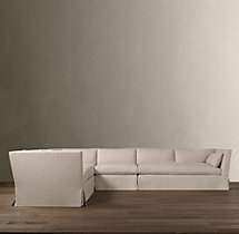 Preconfigured Belgian Shelter Arm Slipcovered L-Sectional