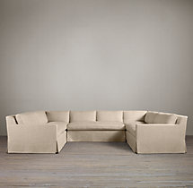 Preconfigured Belgian Track Arm Slipcovered U-Sofa Sectional