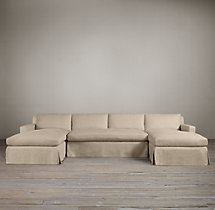 Preconfigured Belgian Track Arm Slipcovered U-Chaise Sectional