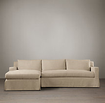 Preconfigured Belgian Track Arm Slipcovered Left-Arm Chaise Sectional