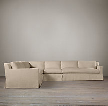 Preconfigured Belgian Track Arm Slipcovered L-Sectional