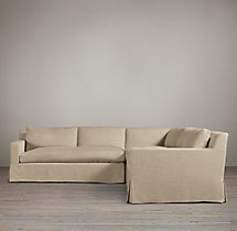 Preconfigured Belgian Track Arm Slipcovered Corner Sectional
