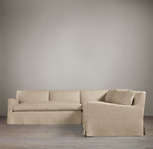 Preconfigured Belgian Slope Arm Slipcovered Corner Sectional