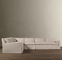 Preconfigured Belgian Slope Arm Slipcovered L-Sectional