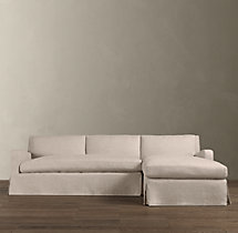 Preconfigured Belgian Slope Arm Slipcovered Right-Arm Chaise Sectional
