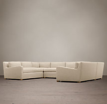 Preconfigured Belgian Slope Arm Upholstered U-Sofa Sectional