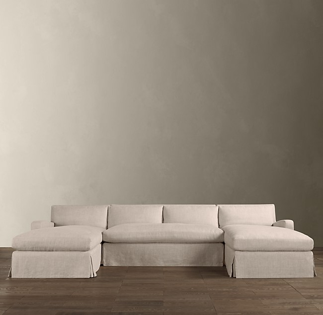 Belgian Slope Arm Slipcovered U Chaise Sectional