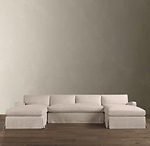 Preconfigured Belgian Slope Arm Slipcovered U-Chaise Sectional