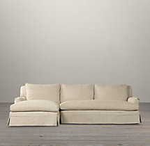 Preconfigured Belgian Classic Roll Arm Slipcovered Left-Arm Chaise Sectional
