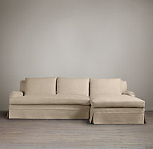 Preconfigured Belgian Classic Roll Arm Slipcovered Right-Arm Chaise Sectional