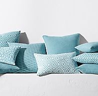 Rh Modern Pillows : Bella-Dura Pillow Cover - Turquoise