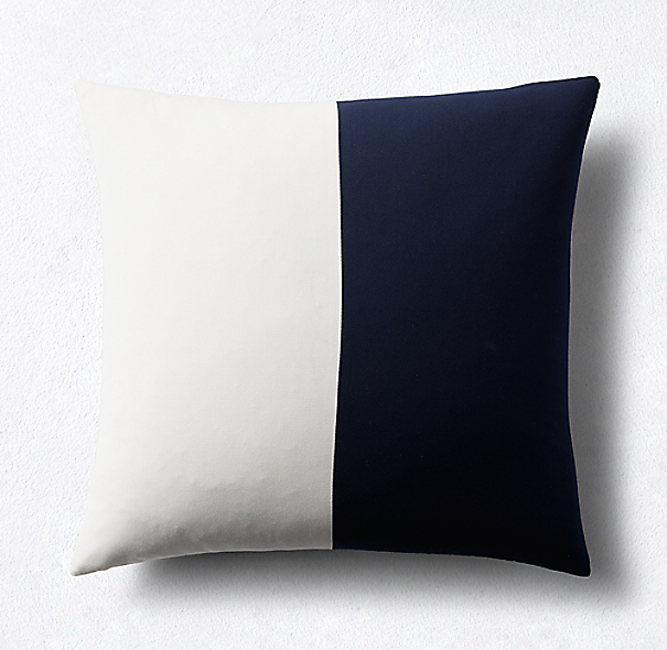 Sunbrella Modern Colorblock Two-Band Square Pillow Cover - Navy