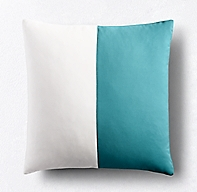 Rh Modern Pillows : Sunbrella Modern Colorblock Two-Band Square Pillow Cover - Turquoise