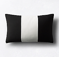 Rh Modern Pillows : Sunbrella Modern Colorblock Three-Band Lumbar Pillow Cover - Black