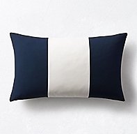Rh Modern Pillows : Sunbrella Modern Colorblock Three-Band Lumbar Pillow Cover - Navy