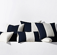 Sunbrella Modern Colorblock Pillow Cover - Navy