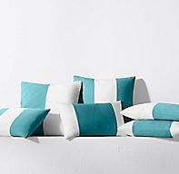 Rh Modern Pillows : Sunbrella Modern Colorblock Pillow Cover - Turquoise