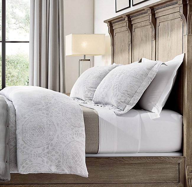 shown in whitemist featured with italian vintage washed 464 percale sheet set in white channel stitch cotton voile coverlet in dune and silk tufted - Restoration Hardware Bedding