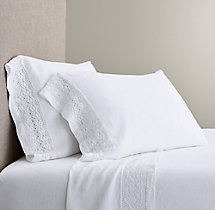 Italian Tombolo Braided Lace Linen Sheet Set