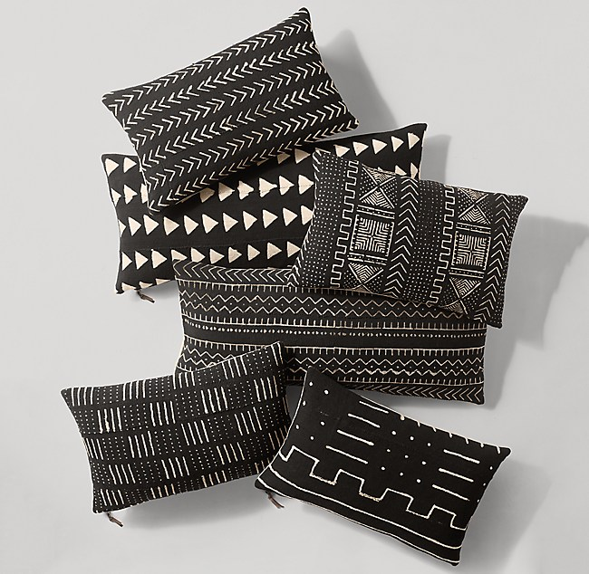 Handwoven African Mud Cloth Varied Pattern Lumbar Pillow Cover