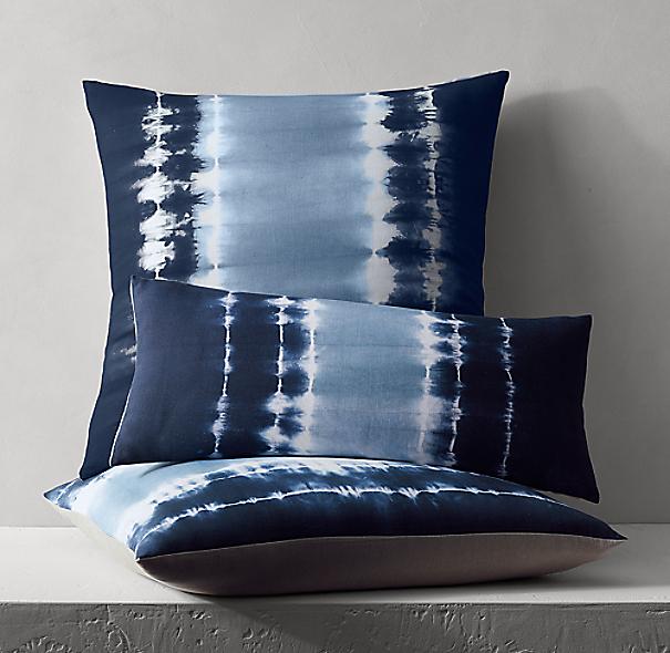 Hand Dyed Linen Shibori Pillow Cover