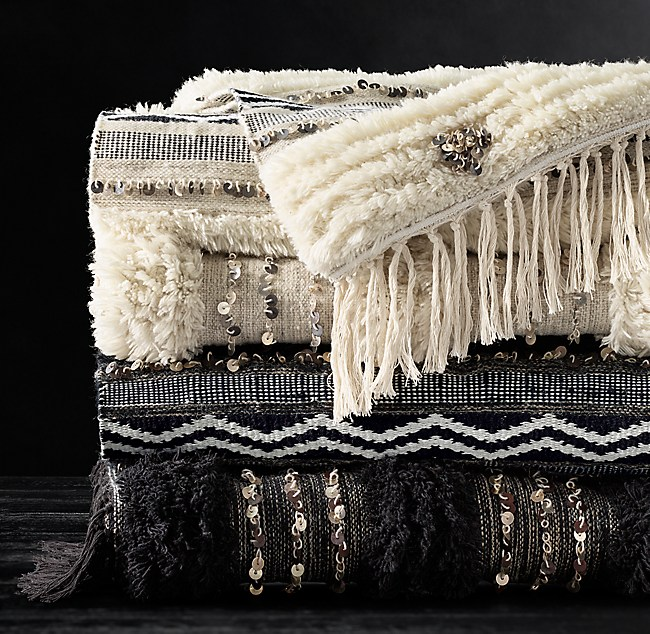 Top Moroccan Wedding Banded Throw SJ28