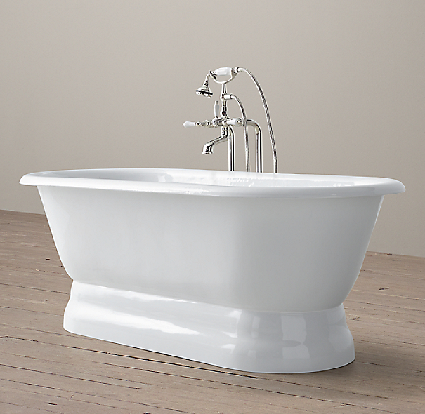 Palais Pedestal Soaking Tub With Lever-Handle Floor-Mount